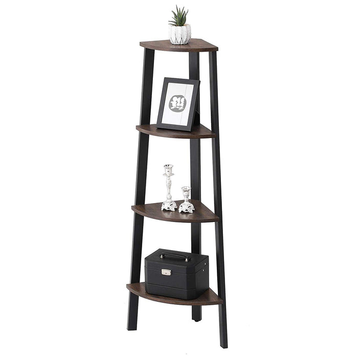 HomeRoots Office Industrial Style Free Standing Iron Bookcase with Four Wooden Shelves, Brown