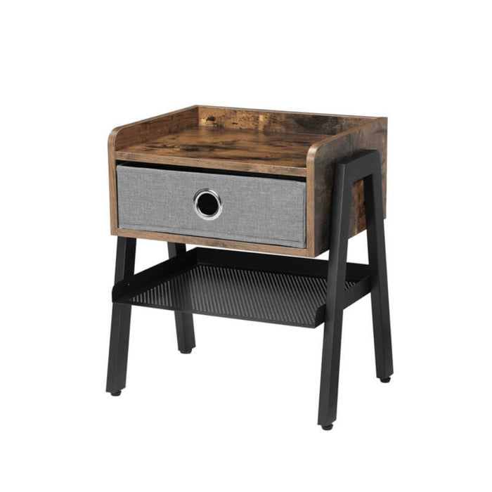 HomeRoots Office Wooden Nightstand with Fabric Removable Drawer and Metal Mesh Shelf, Brown and Black