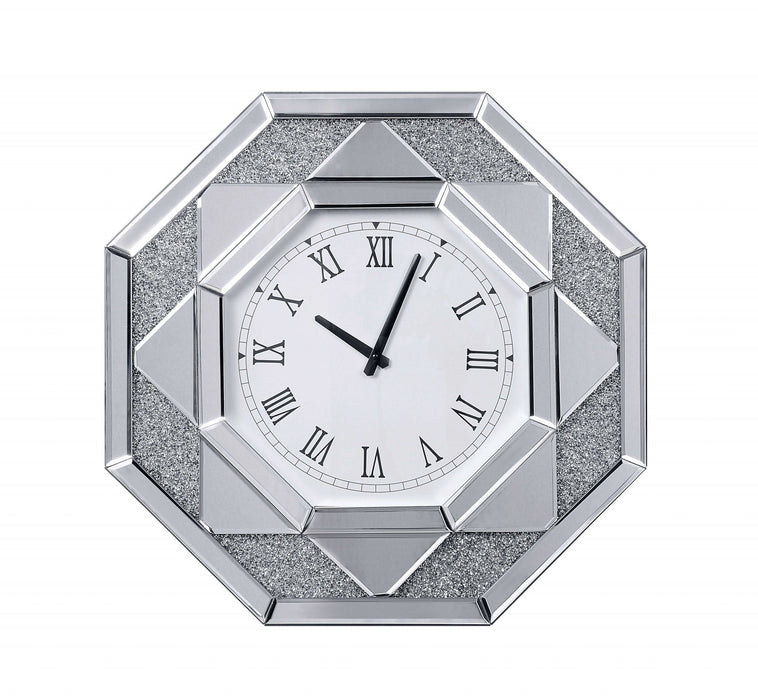HomeRoots Wood and Mirror Wall Clock with Octagonal Silhouette, Clear