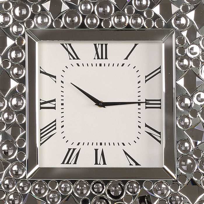 HomeRoots Wood and Mirror Wall Clock with Glass Crystal Gems, Clear and Black