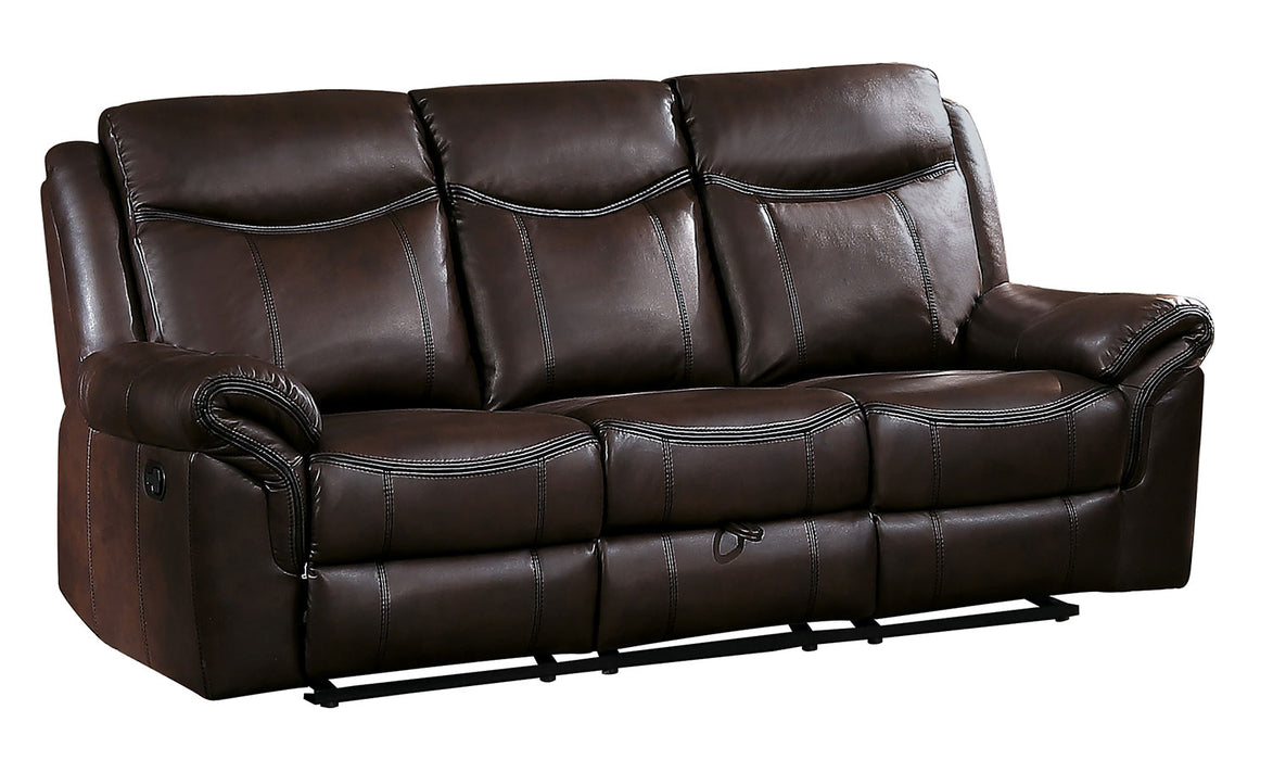 HomeRoots Office Leatherette Upholstered Dual Recliner Sofa With Hidden Drawer, Brown