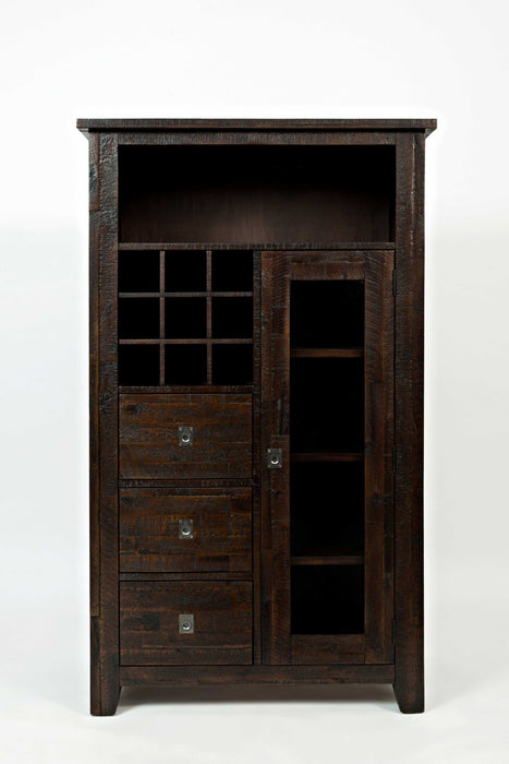 HomeRoots Office Wooden Wine Pantry with 3 Drawers, Chocolate Brown