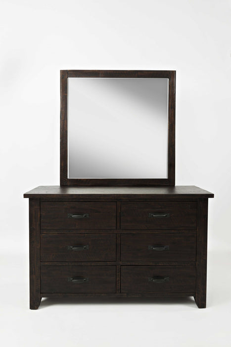 HomeRoots Office Wood & Metal Double Dresser With 6 Drawers, Dark Brown