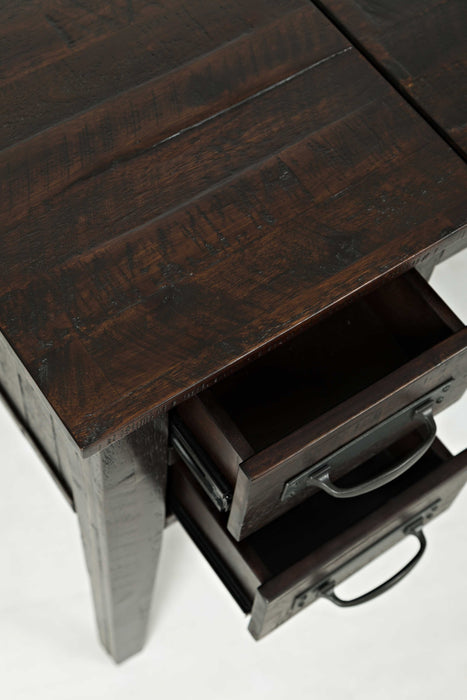 HomeRoots Office 5 Drawers Wood and Metal Desk With Flip Top, Dark Brown