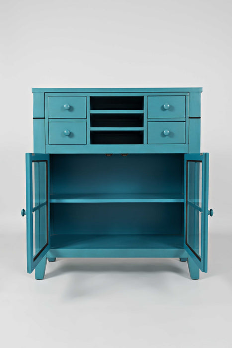 HomeRoots Office Contemporary Wooden Accent Desk With 4 Drawers & 2 Doors, Seashore Blue