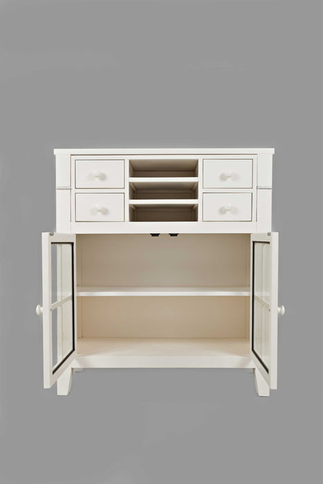 HomeRoots Office Contemporary Wooden Accent Desk With 4 Drawers & 2 Doors, White