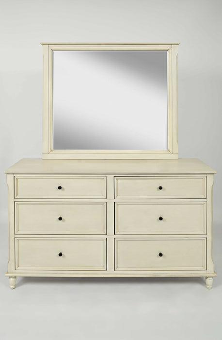 HomeRoots Office Traditional Wooden Double Dresser With 6 Drawers, Ivory White