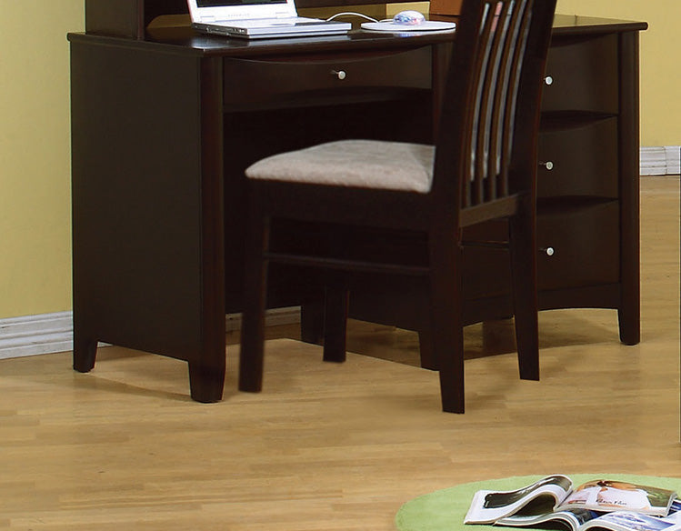 HomeRoots Office Spacious Wooden Desk with Chambered Drawer Fronts, Cappuccino Brown