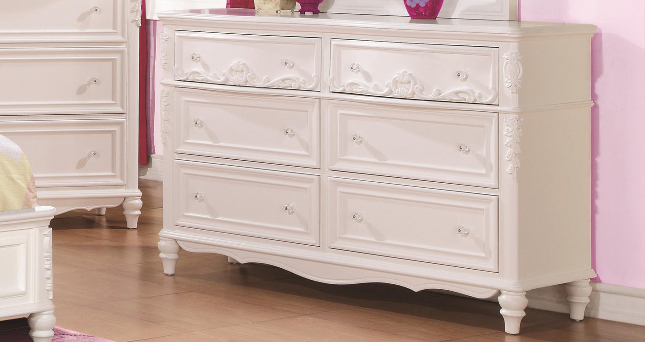 HomeRoots Office Traditional Style Wooden Dresser with 6 Drawers, White