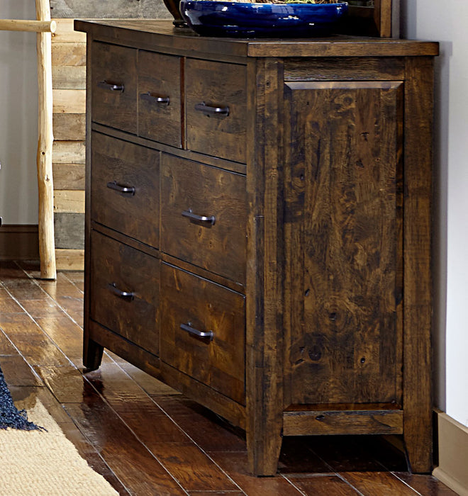 HomeRoots Office Spacious Wooden Dresser With 7 Drawers, Rustic Burnished Brown