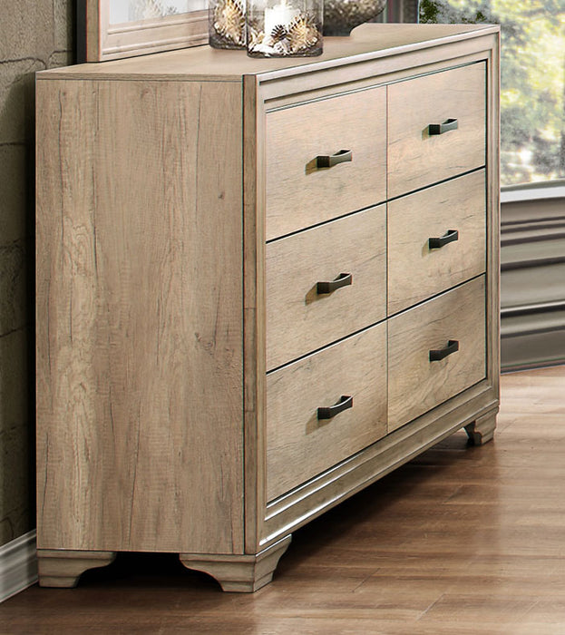 HomeRoots Office 6 Drawer Wooden Dresser In Transitional Style, Natural Brown