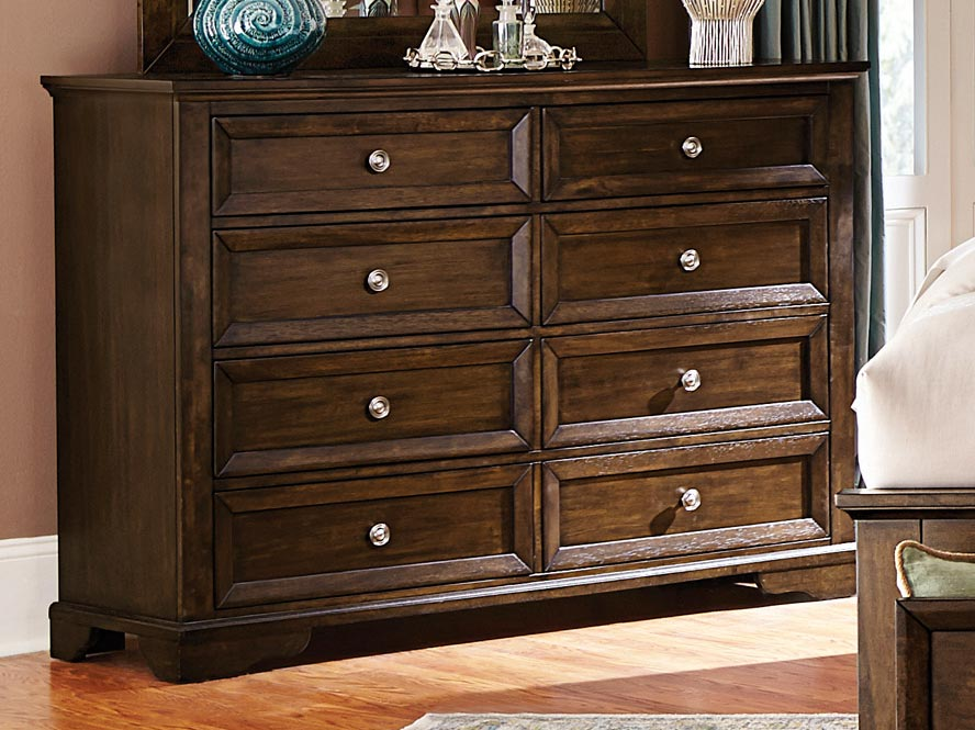 HomeRoots Office Rustic Style Wooden Dresser With 8 Drawers, Brown