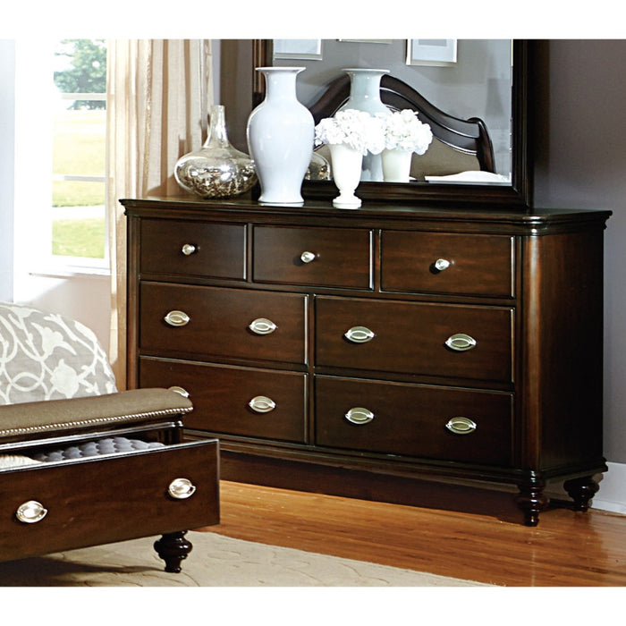 HomeRoots Office 7 Drawer Wooden Dresser, Dark Cherry Brown
