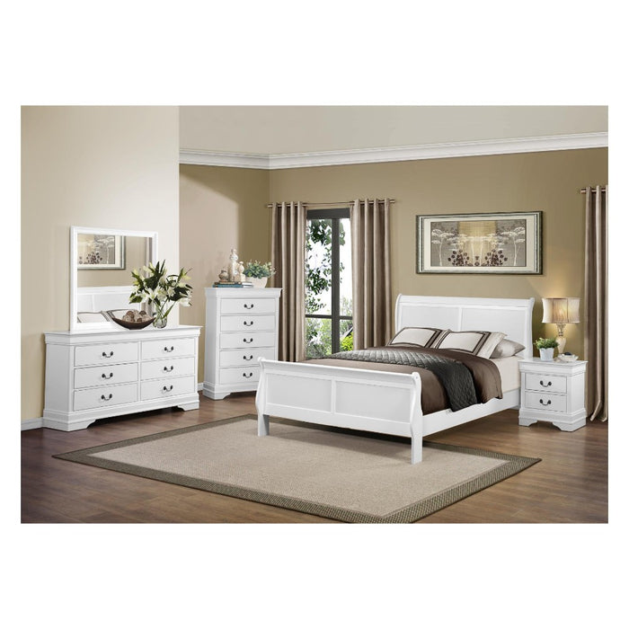 HomeRoots Office Solid Wooden Six Drawer Dresser, White