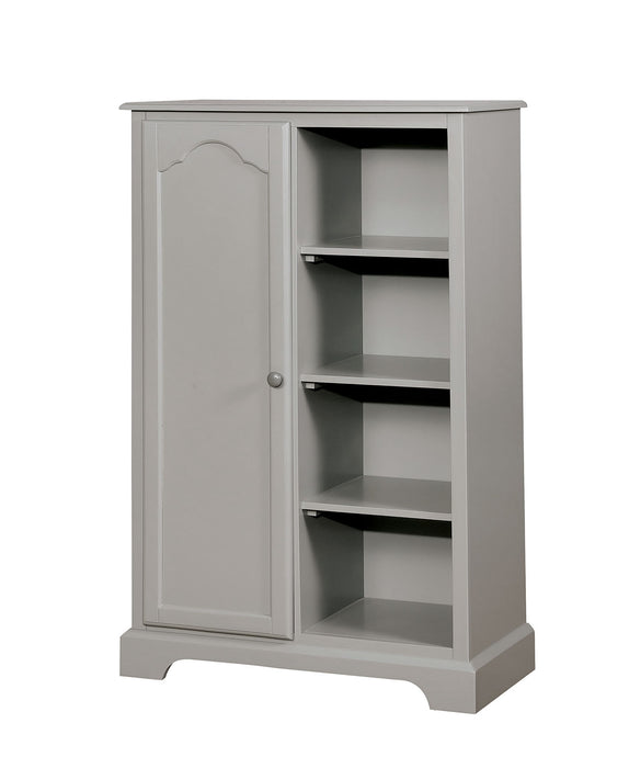 HomeRoots Office Transitional Solid Wood Closet Storage With 4 Shelves and Cupboard, Gray