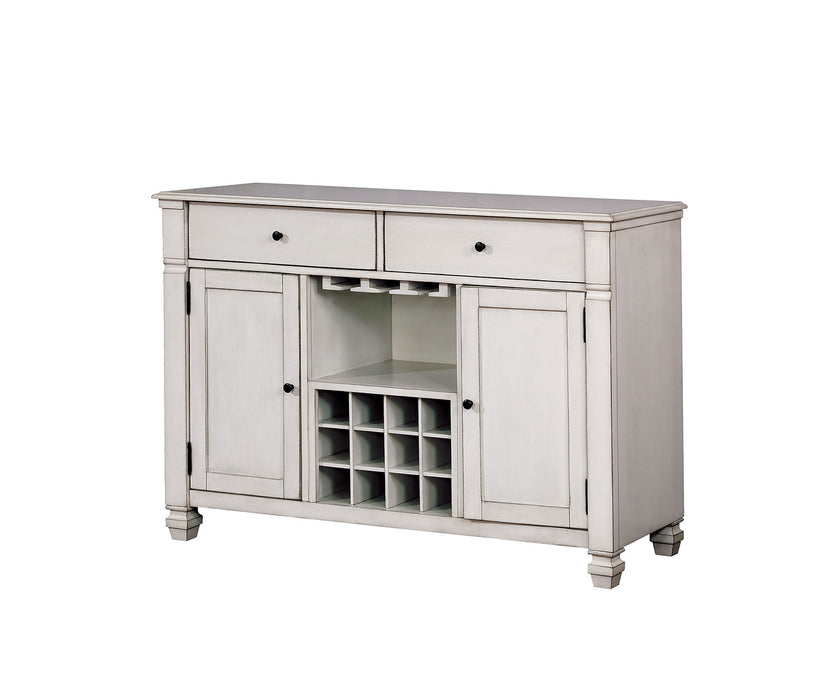 HomeRoots Office Wood Server With Two Door and Two Drawers, Antique White