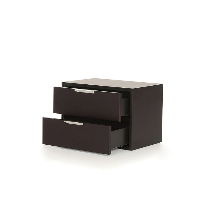 HomeRoots Office Wooden Two Drawer Nightstand with Stainless Steel Handle, Brown