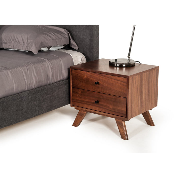 HomeRoots Office Two Drawer Nightstand with RodShaped Pull and Tapered Feet, Walnut Brown