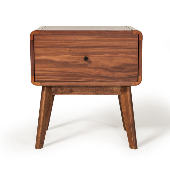 HomeRoots Office One Drawer Nightstand with RodShaped Pull and Tapered Feet, Walnut Brown