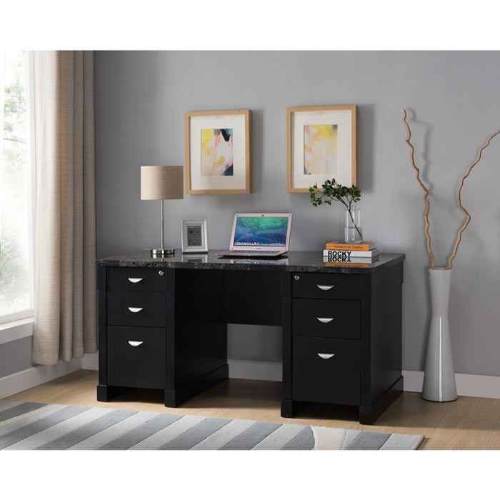HomeRoots Office Wood and Faux Marble Desk With Drawers, Black