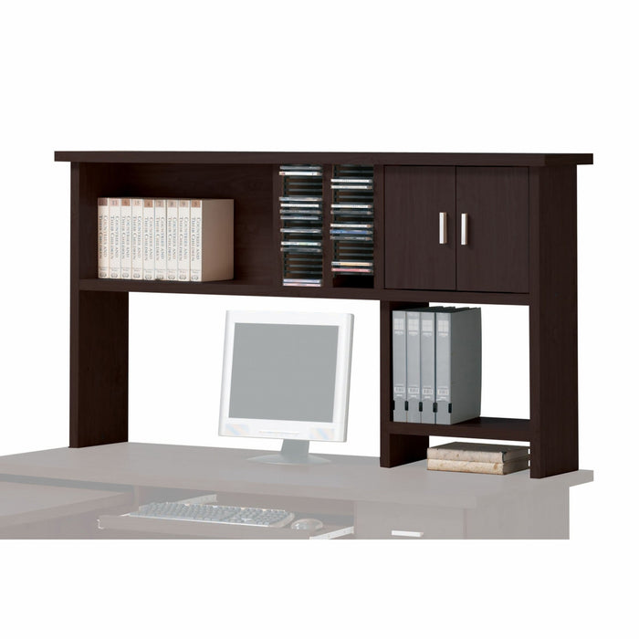"HomeRoots Office 12"" X 63"" X 34"" Espresso Wood Veneer (Paper) Computer Hutch"