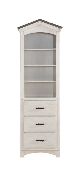 "HomeRoots Office 14"" X 24"" X 78"" Weathered White Washed Gray Wood Bookcase"