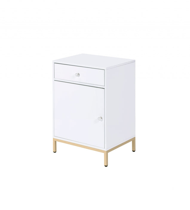 "HomeRoots Office 16"" X 20"" X 30"" White High Gloss Gold Metal Wood Cabinet"