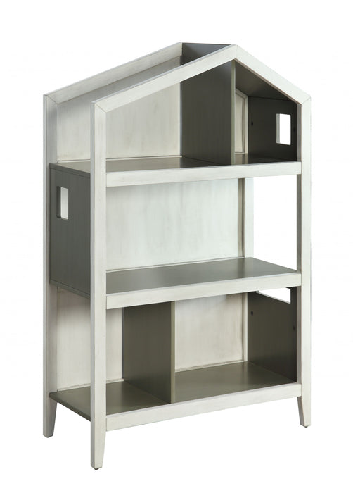 "HomeRoots Office 14"" X 33"" X 50"" Weathered White Washed Gray Wood Bookcase"