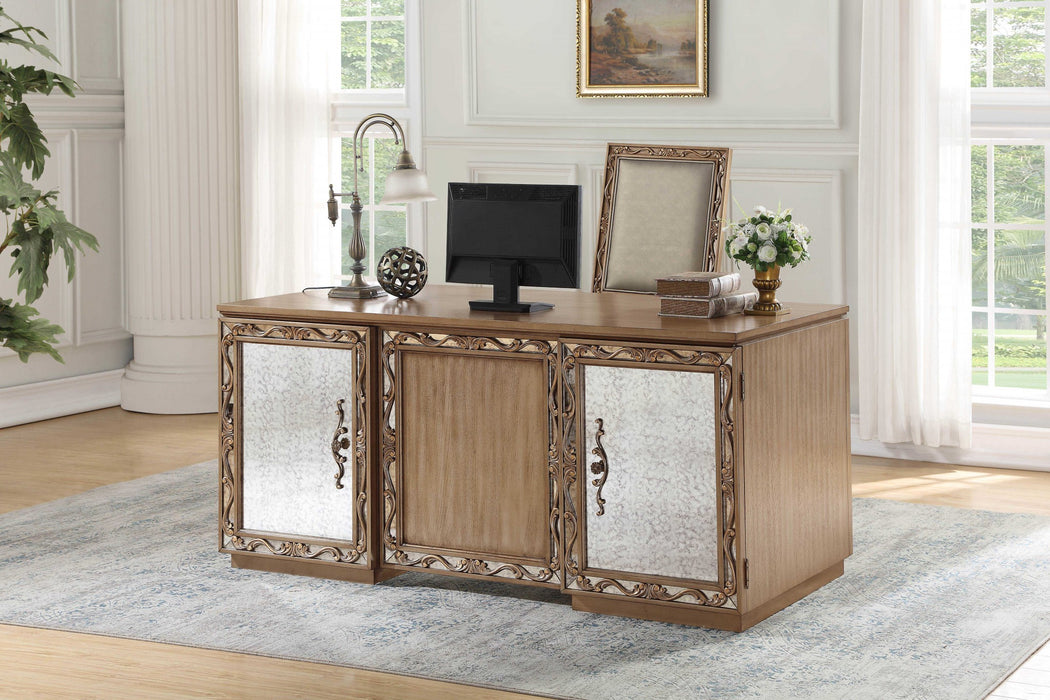 "HomeRoots Office 32"" X 66"" X 30"" Antique Gold Wood Glass Mirror Executive Desk"