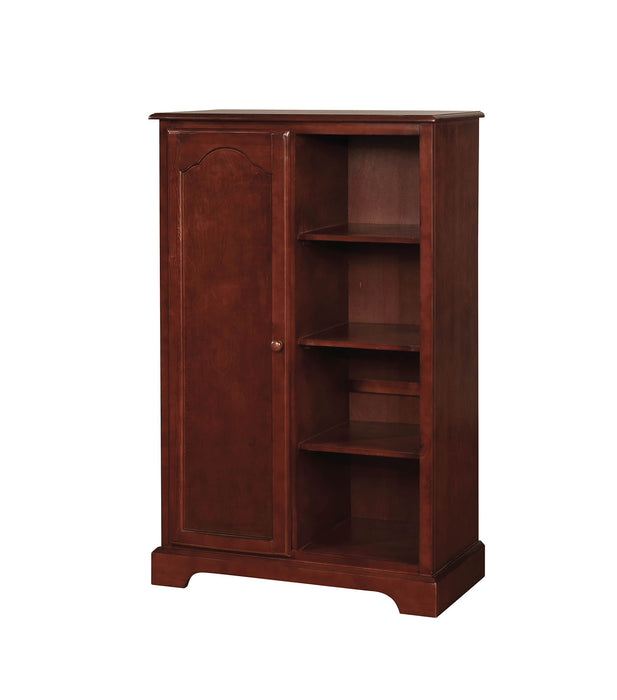 HomeRoots Office Wooden Closet Storage With Four Open Shelves In Cherry Brown