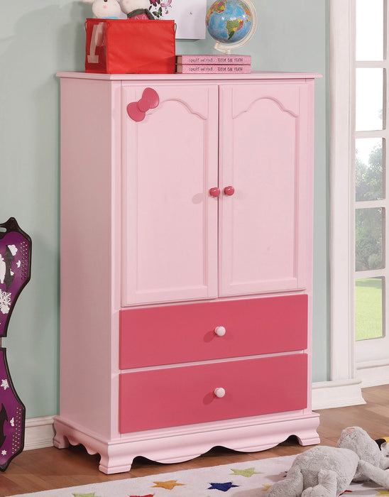 HomeRoots Office Wooden Armoire With Two Bottom Drawers In Pink