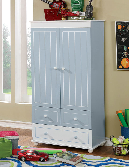 HomeRoots Office Wooden Armoire With Three Bottom Drawers In Blue And White