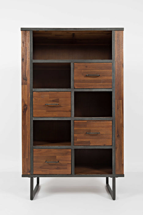 HomeRoots Office Wooden And Metal Bookcase With Spacious Storage, Brown