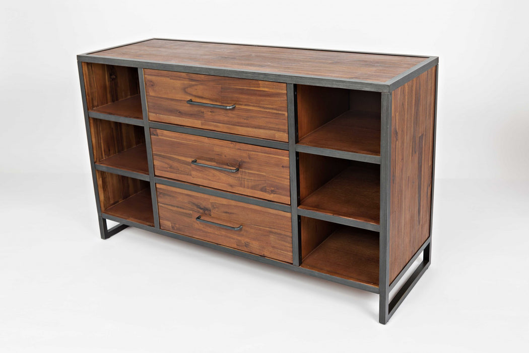 HomeRoots Office Wood And Metal Server With Three Drawers And Six Shelves, Brown