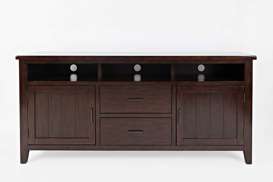 HomeRoots Office Wooden Media Console With 2 Drawers, Cherry Brown