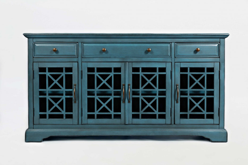 HomeRoots Office 60 Inch Wooden Media Unit with 3 Drawers, Antique Blue