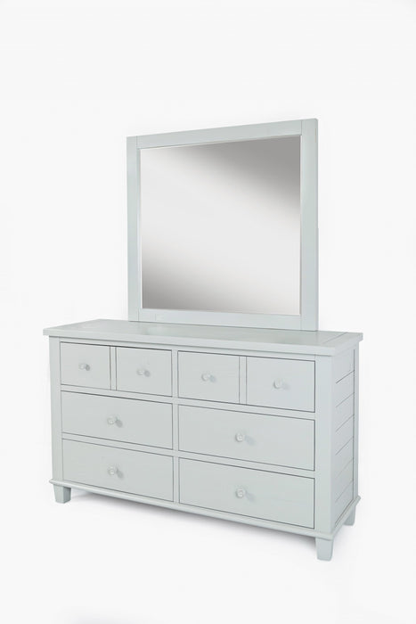 HomeRoots Office Eight Drawer Wooden Dresser With Metal Knobs, Dove White