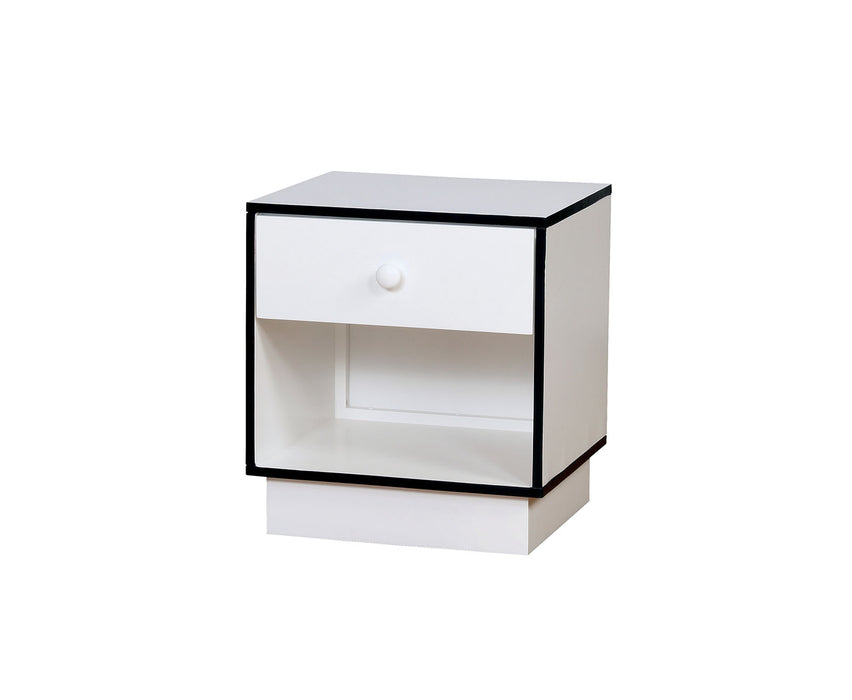 HomeRoots Office Wooden Night Stand with 1 Drawer, Blue & White