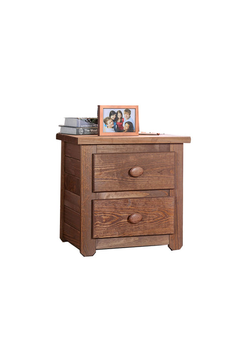 HomeRoots Office Wooden 2 Drawers Night Stand In Mahogany Finish, Brown
