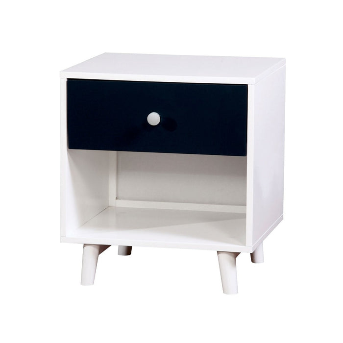 HomeRoots Office Wooden Two Tone Nightstand with One Drawer And One Shelf, White And Blue