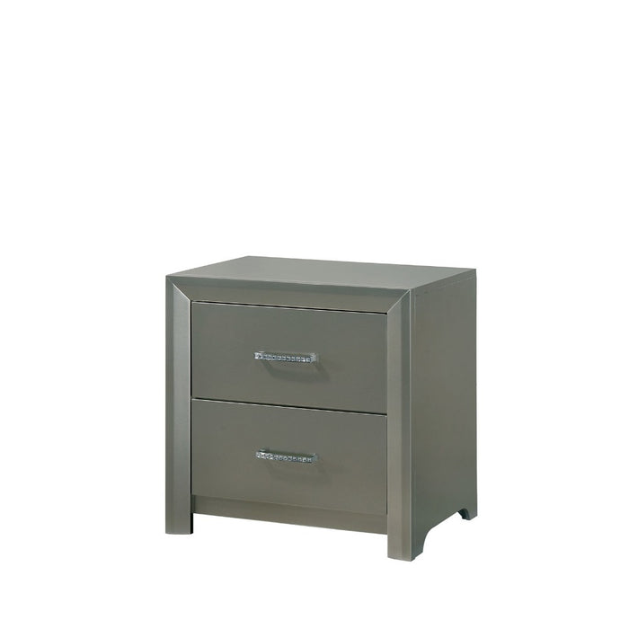HomeRoots Office Two Drawer Solid Wood Nightstand with Crystal Trim Handle Pulls, Silver
