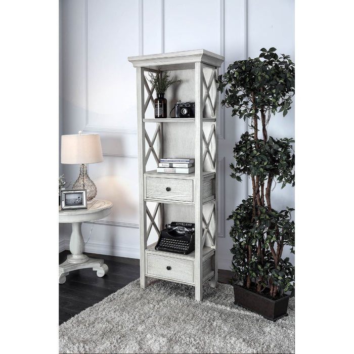 HomeRoots Office Wooden Pier Stand With Two Drawer And Three Shelves, Antique White