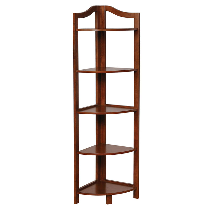 HomeRoots Office Transitional Style Wooden Open Frame Ladder Shelf with Five Shelves, Oak Brown