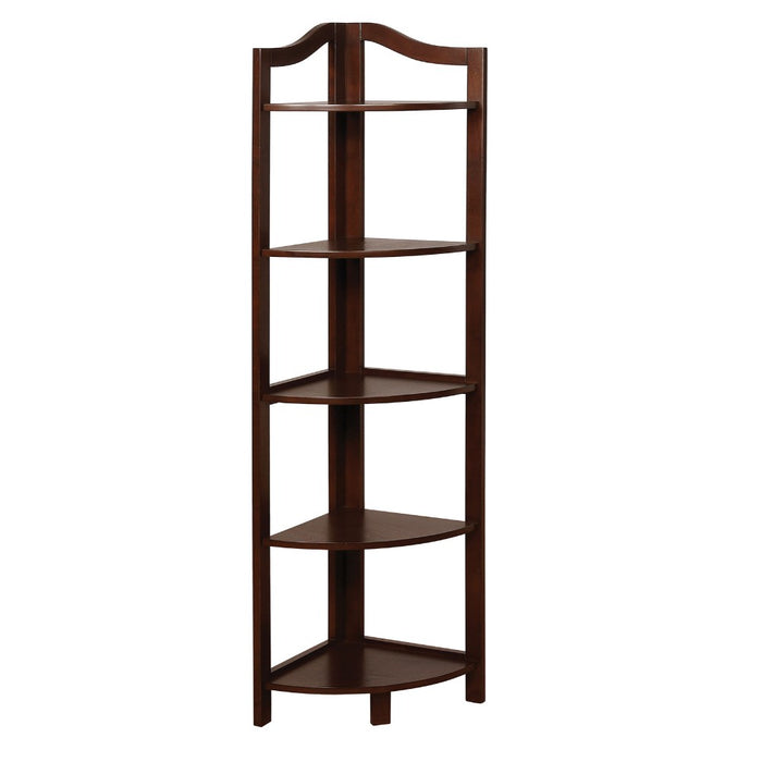 HomeRoots Office Transitional Style Wooden Open Frame Ladder Shelf with Five Shelves, Espresso Brown
