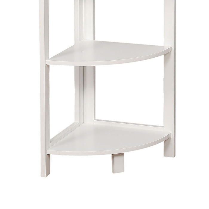 HomeRoots Office Transitional Style Wooden Open Frame Ladder Shelf with Five Shelves, White
