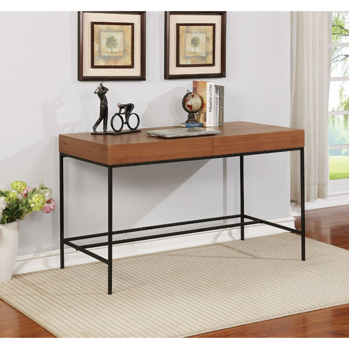 HomeRoots Office Industrial Wooden Desk with Two Drawer Storage and Metal Base, Brown and Black