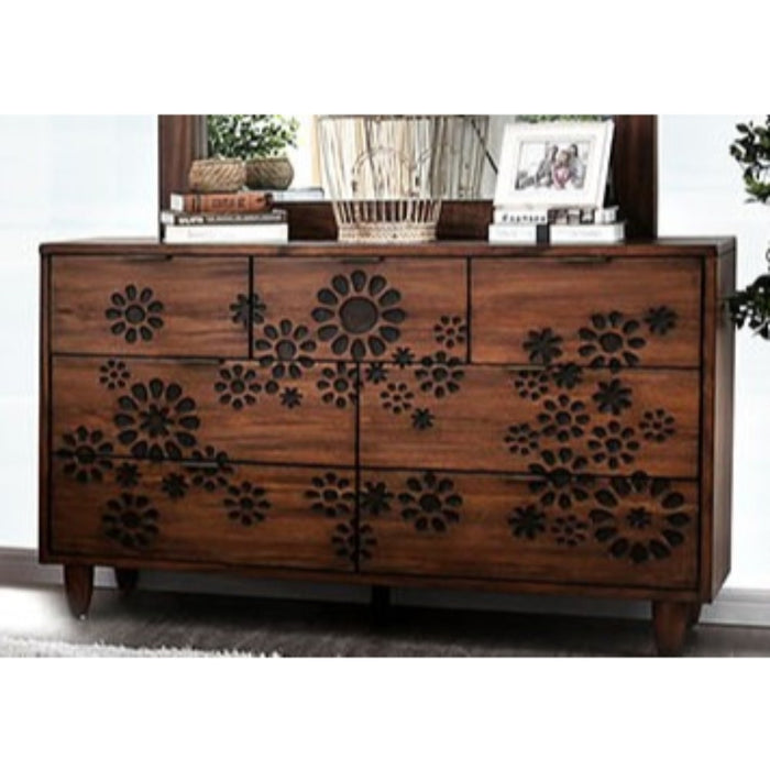 HomeRoots Office Transitional Style Seven Drawer Solid Wood Dresser with Round Tapered Feet, Brown