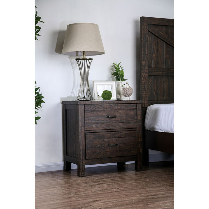 HomeRoots Office Two Drawer Solid Wood Night Stand with Block Legs and Bar Handles, Espresso Brown