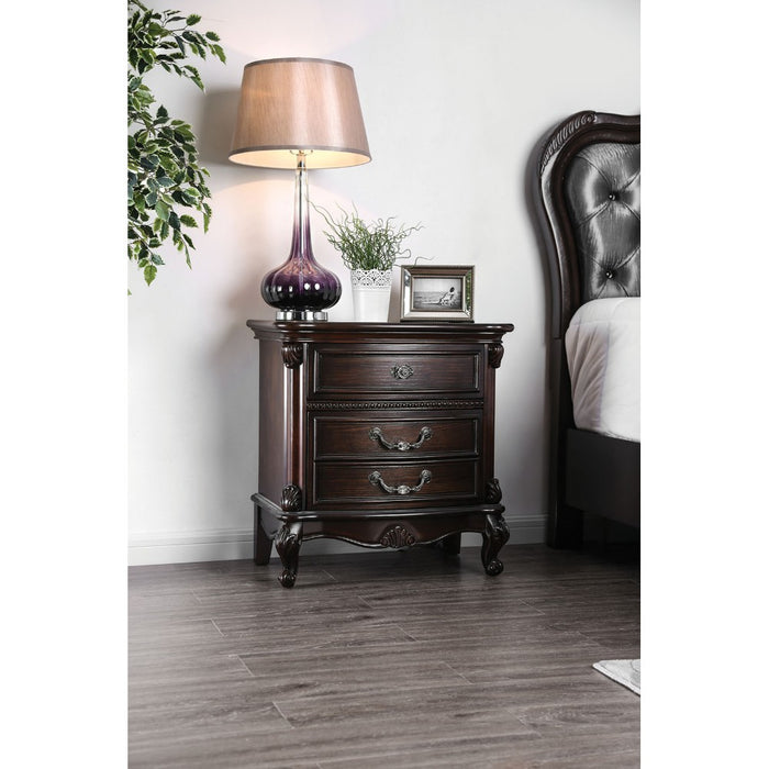 HomeRoots Office Traditionally Designed Solid Wood Nightstand with Three Drawers and Scrolled Legs, Brown