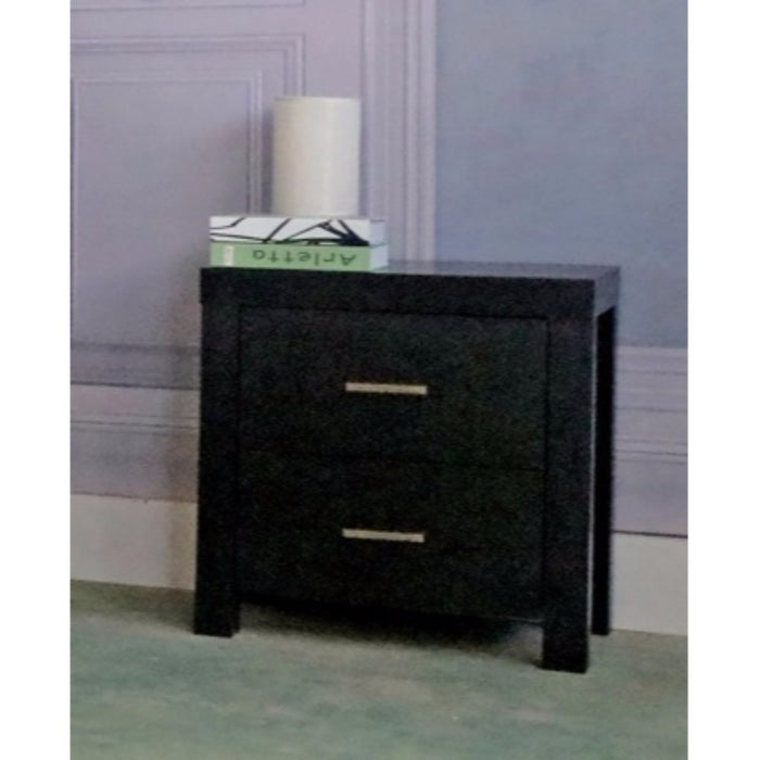 HomeRoots Office Sophisticated Nightstand With 2 Storage Drawers, Black Finish.